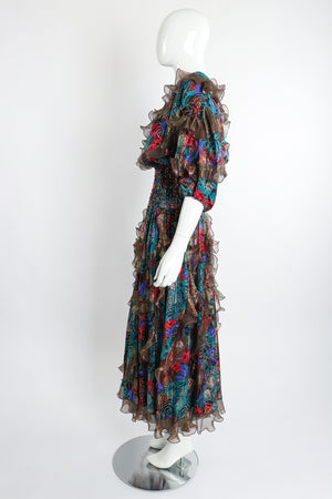 Vintage Diane Freis Metallic Lamé Ruffle Dress on Mannequin side at Recess Los Angeles