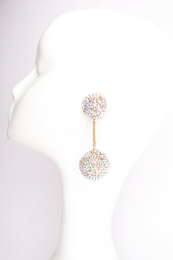 Vintage Diane Lauren Iridescent Rhinestone Ball Drop Earrings on Mannequin at Recess Los Angeles