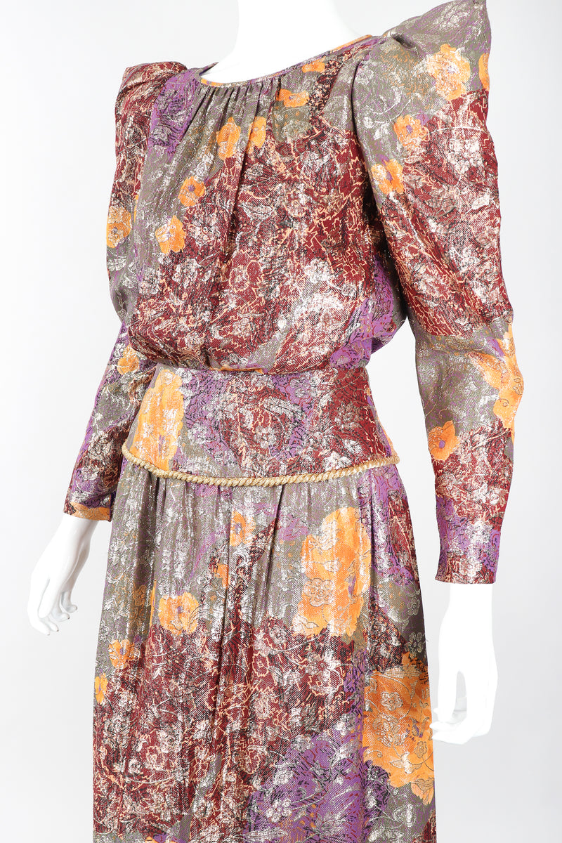 Recess Designer Consignment Vintage Diane Dickinson Floral Lamé Brocade Pointed Shoulder Dress Los Angeles Resale Mariano Fortuny