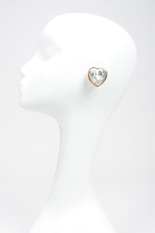 Recess Los Angeles Vintage Christian Dior Oversized Crystal Heart Earrings