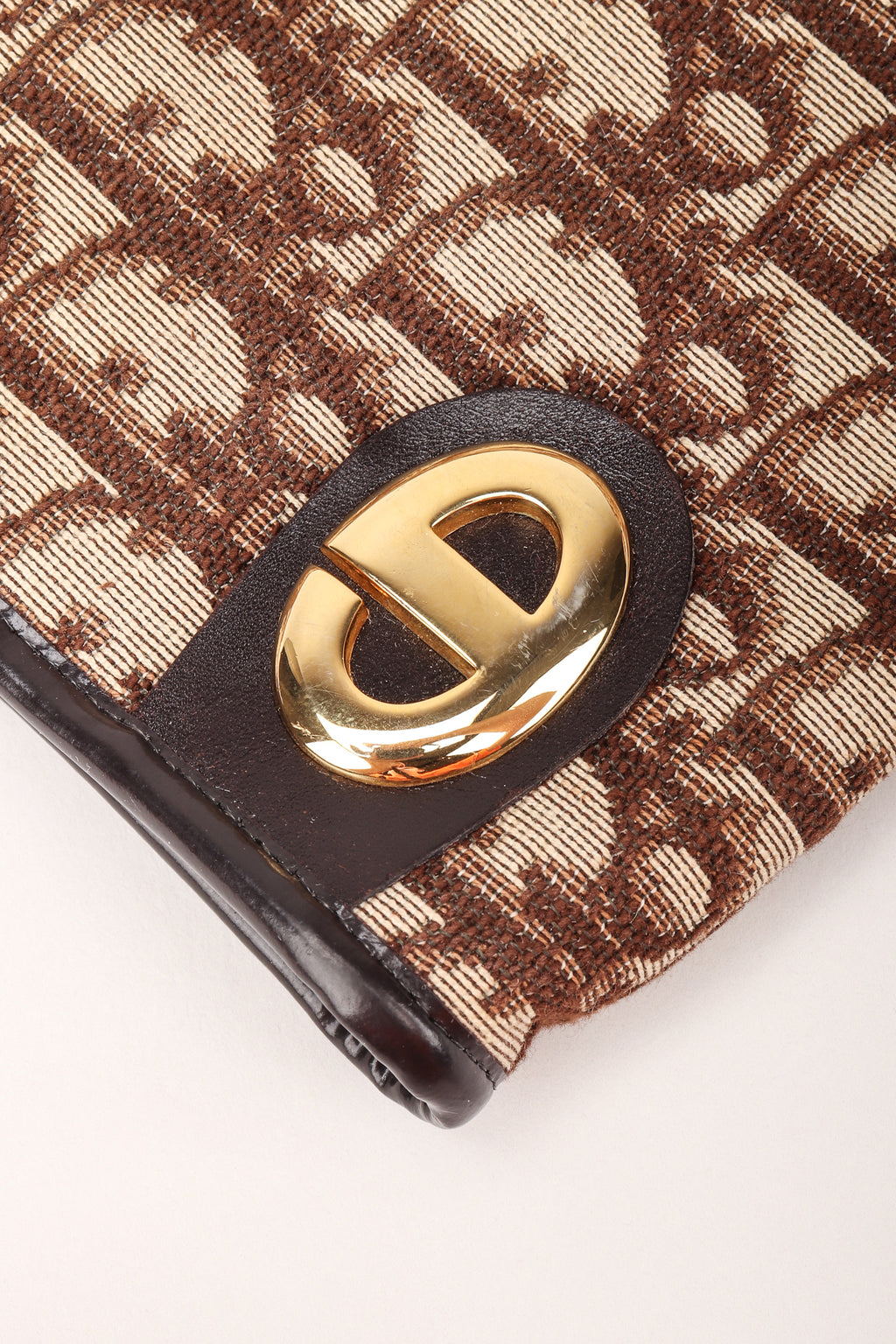 Recess Los Angeles Designer Consignment Vintage Christian Dior Monogram Logo Twill Frame Clutch Purse