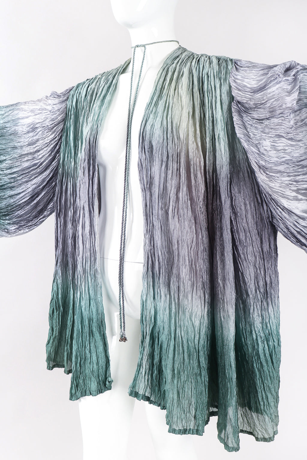 Recess Los Angeles Designer Consignment Vintage Divine Madness by Kathleen Ocean Mist Ombré Organza Draped Crinkle Jacket