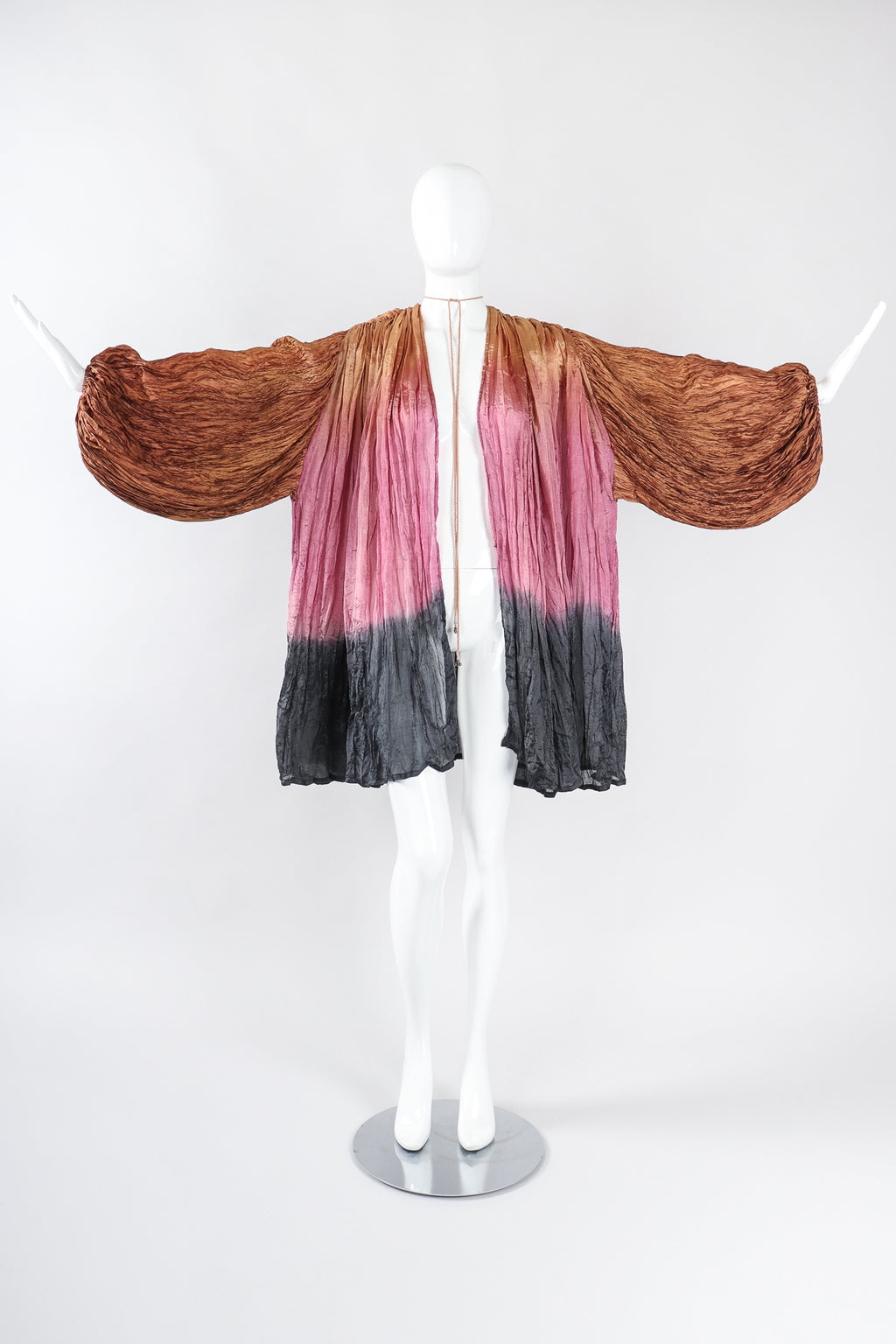 Recess Los Angeles Designer Consignment Vintage Divine Madness by Kathleen Tan Ombré Organza Draped Crinkle Jacket