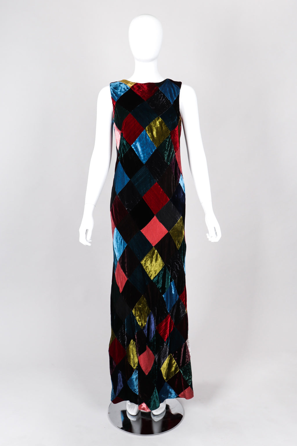 Recess Los Angeles Vintage Dolce & Gabbana Velvet Harlequin Patchwork Multi Colored Long Dress