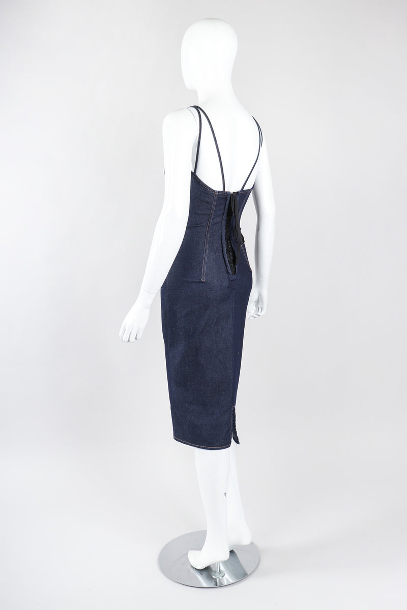 Recess Los Angeles Vintage Dolce & Gabbana 90s Stretch Denim Corset Slip Dress
