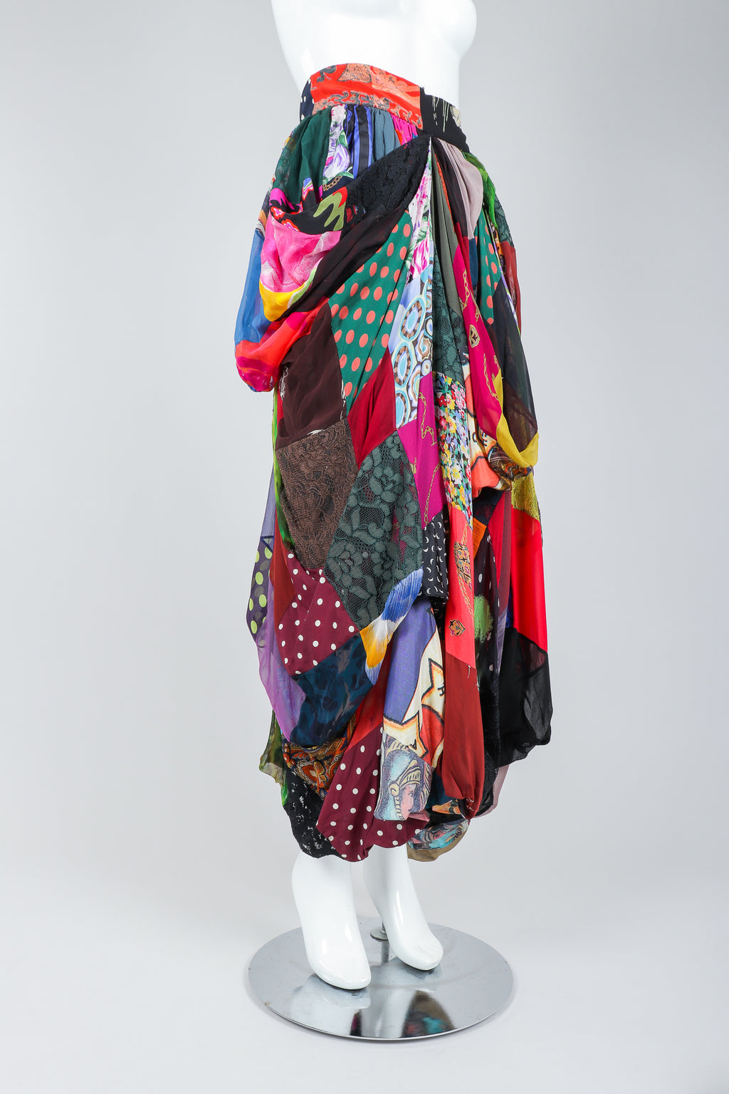 Recess Vintage Dolce & Gabbana Rainbow Silk Patchwork Skirt on Mannequin, angled