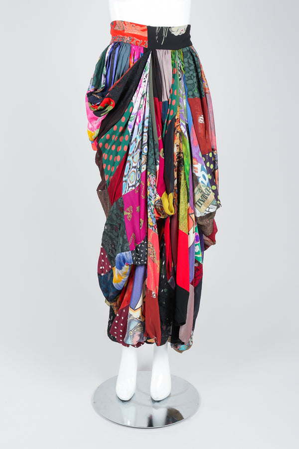 Recess Vintage Dolce & Gabbana Rainbow Silk Patchwork Skirt on Mannequin, front