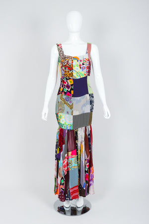 Vintage Dolce & Gabbana Spring/Summer 1993 Collection Patchwork Mermaid Gown on Mannequin
