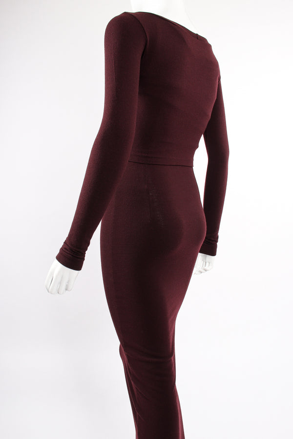 Vintage Dolce & Gabbana Knit Bodycon Dress & Top Set on Mannequin back angle at Recess LA