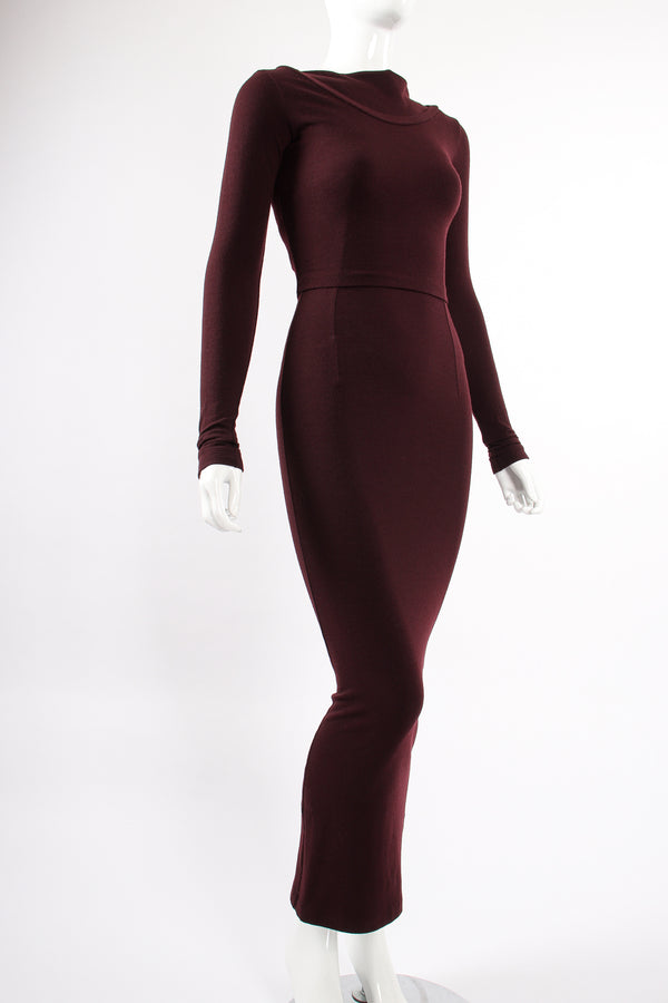 Vintage Dolce & Gabbana Knit Bodycon Dress & Top Set on Mannequin angle at Recess LA
