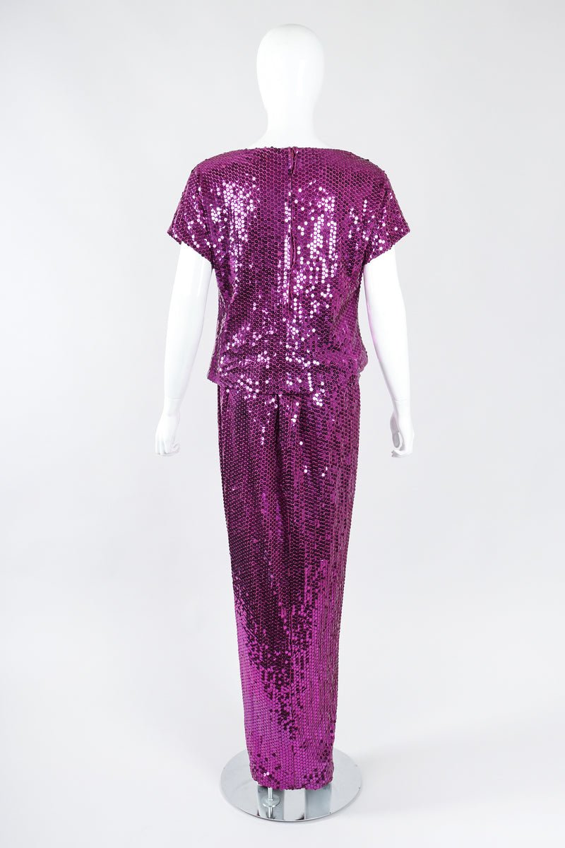 Recess Los Angeles Designer Consignment Vintage Dominic Rompollo Orchid Fuchsia Sequin Top & Skirt Set