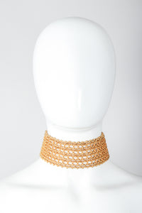 Recess Vintage Dominique Aurientis Gold chain link choker necklace on mannequin