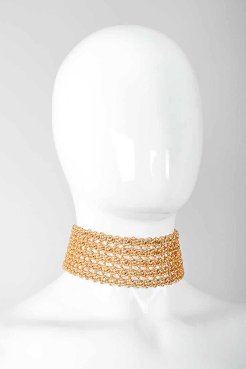 Recess Vintage Dominique Aurientis Gold chain link choker necklace on mannequin, side