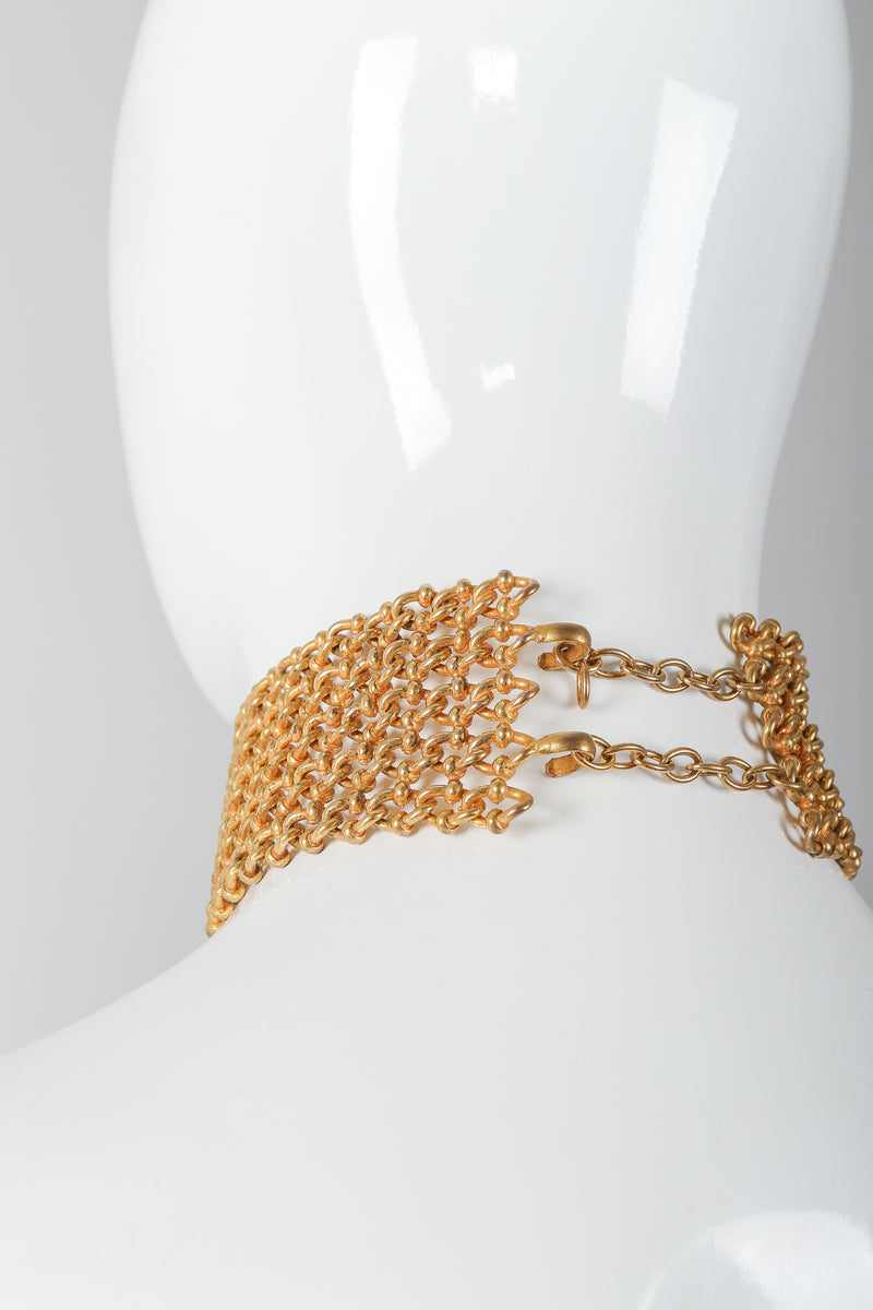 Recess Vintage Dominique Aurientis Gold chain link choker necklace on mannequin, back clasp
