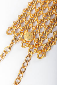 Recess Vintage Dominique Aurientis Gold chain link choker necklace round signature cartouche