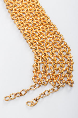 Recess Vintage Dominique Aurientis Gold chain link choker necklace on grey background