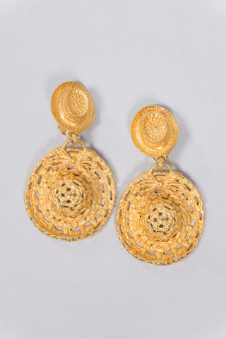 Dominique Aurientis Vintage Goldtone Hat Earrings