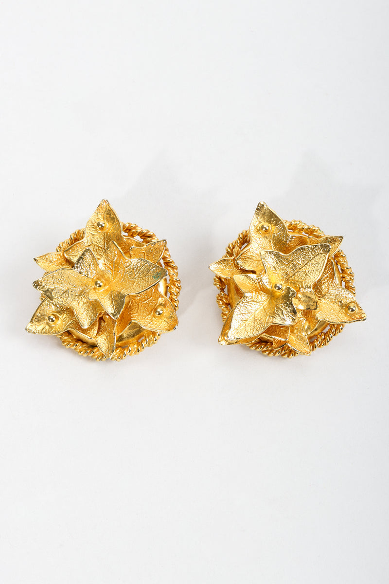 Vintage Dominique Aurientis Gilded Leaves Button Earrings at Recess Los Angeles