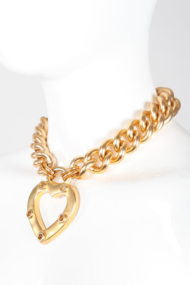 Recess Los Angeles Vintage Erwin Pearl Heart Curb Chain Collar Necklace
