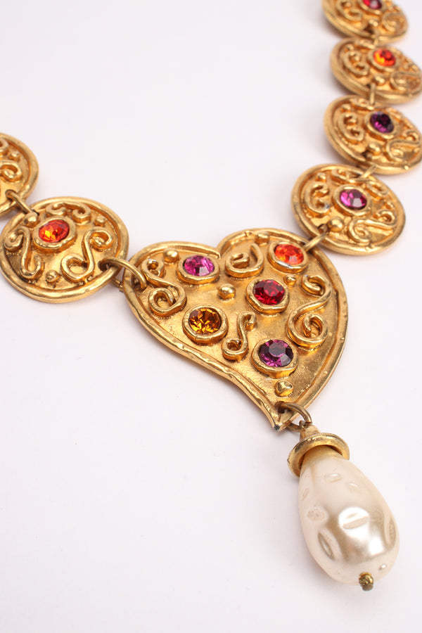Vintage Edouard Rambaud Heart Medallion Necklace detail at Recess Los Angeles
