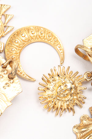 Recess Vintage Edouard Rambaud Gold Etruscan Chandelier Earrings, Sun Moon Charm Detail