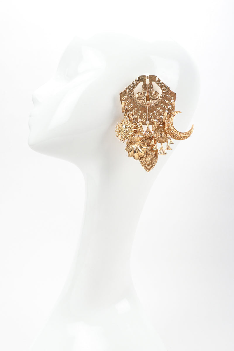 Recess Vintage Edouard Rambaud Gold Etruscan Chandelier Earrings on Mannequin