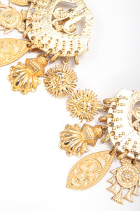 Recess Vintage Edouard Rambaud Gold Etruscan Chandelier Earrings on white Background