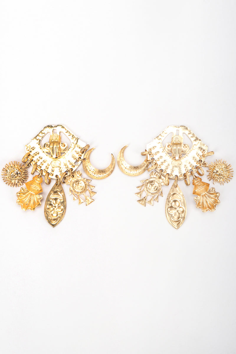 Recess Vintage Edouard Rambaud Gold Etruscan Chandelier Earring, backs on white Background