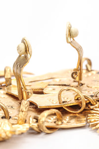 Recess Vintage Edouard Rambaud Gold Etruscan Chandelier Earrings, Clip Back Close Up