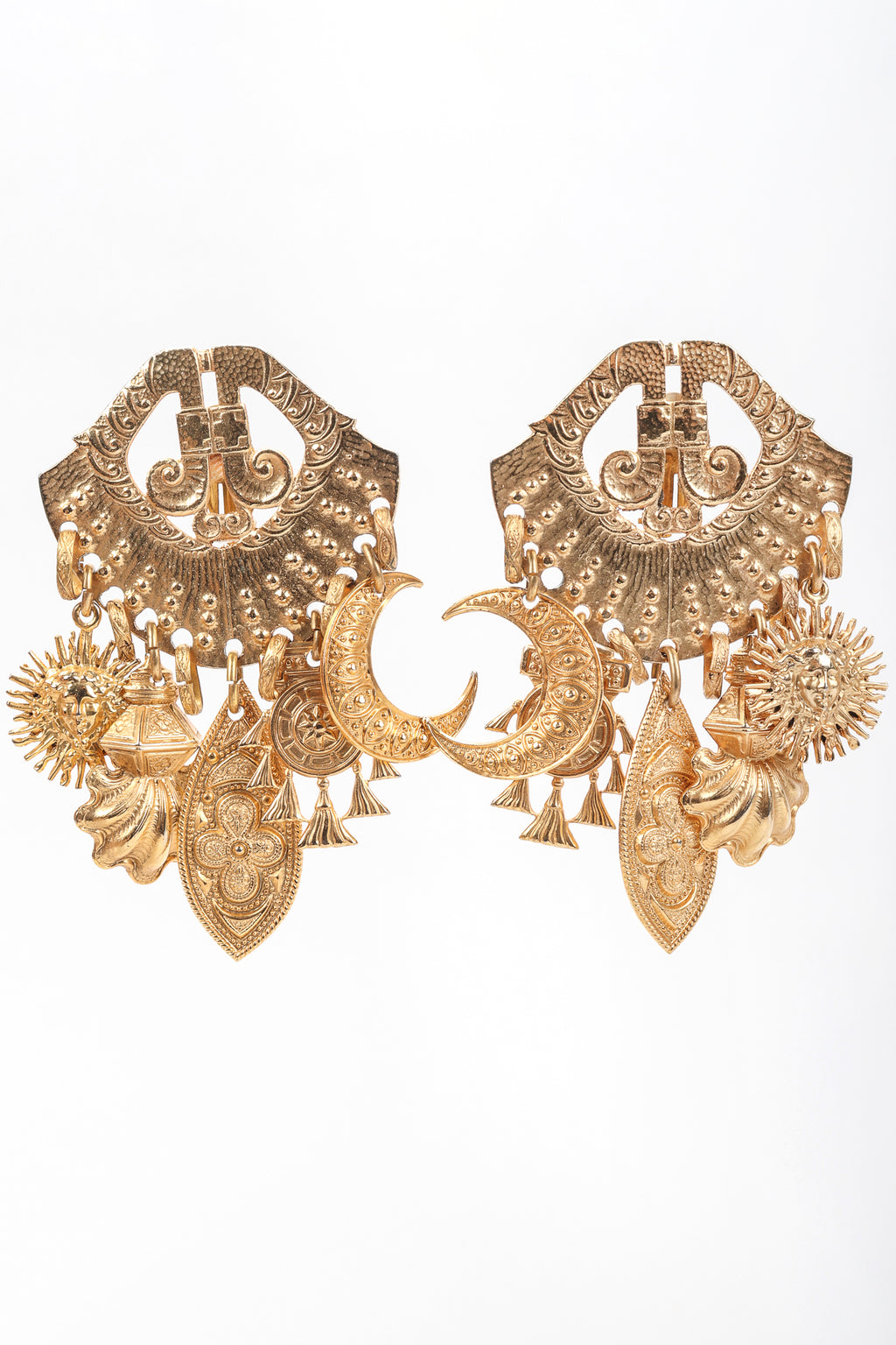 Recess Vintage Edouard Rambaud Gold Etruscan Chandelier Earrings, white Background
