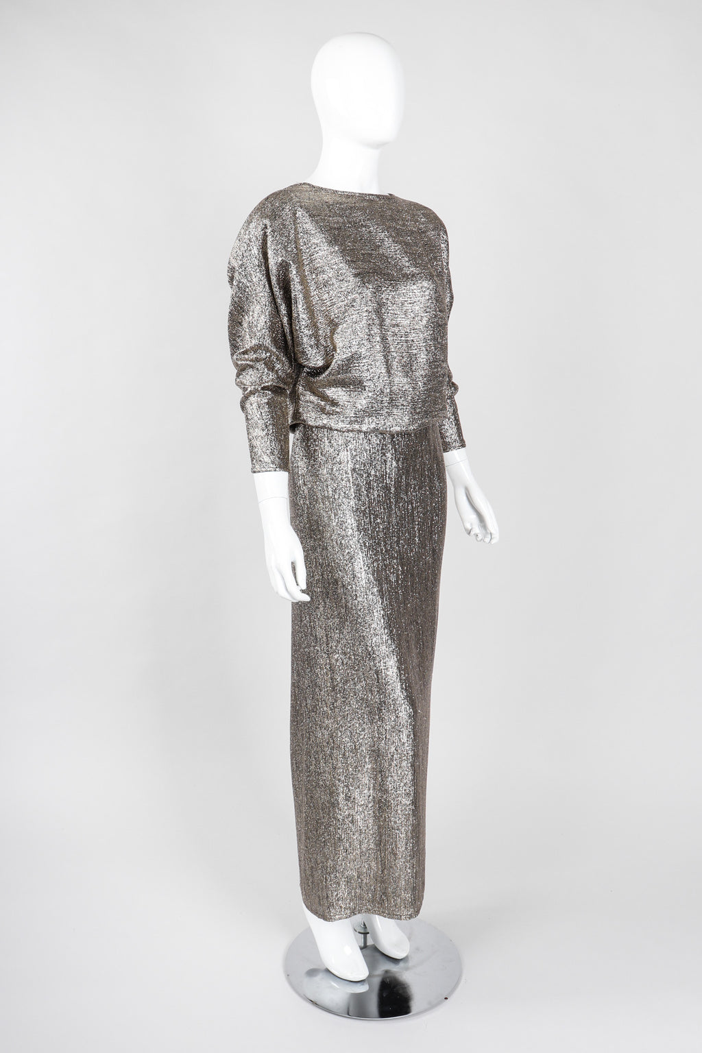 Recess Los Angeles Vintage Edward Harney Metallic Lamé Oscar Cowl Back Dress