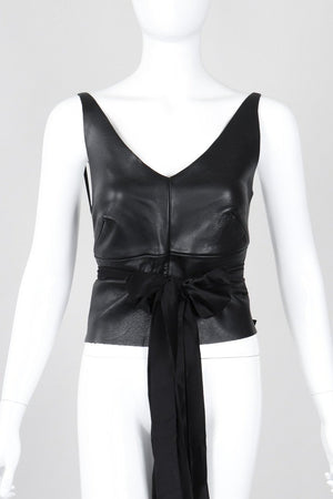 Recess Los Angeles Vintage Elisabetta Rogiani Leather Tie-Back Backless Camisole