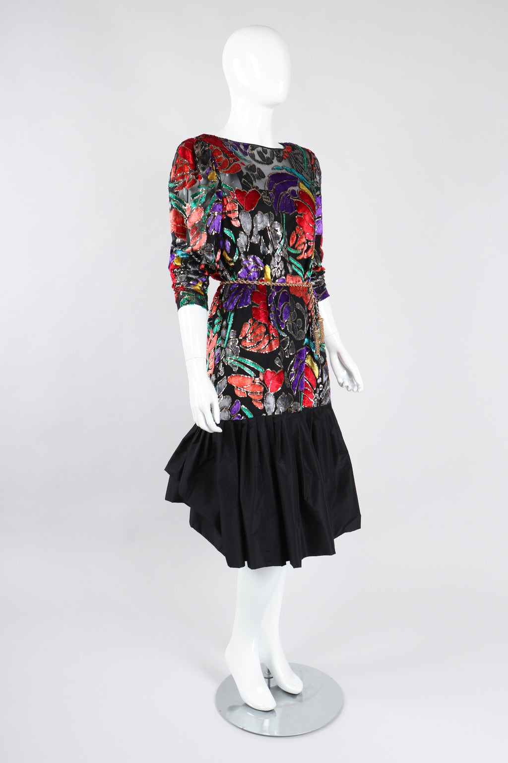 Recess Los Angeles Vintage Helga for Elizabeth Arden Salon Floral Velvet Lamé Burnout Dress