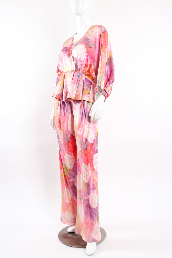 Vintage Emanuel Ungaro Parallèle Floral Silk 3-Pc Leisure Set on mannequin front @ Recess LA