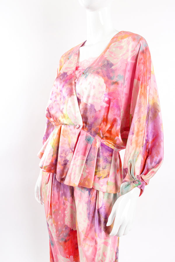 Vintage Emanuel Ungaro Parallèle Floral Silk 3-Pc Leisure Set on mannequin crop @ Recess LA