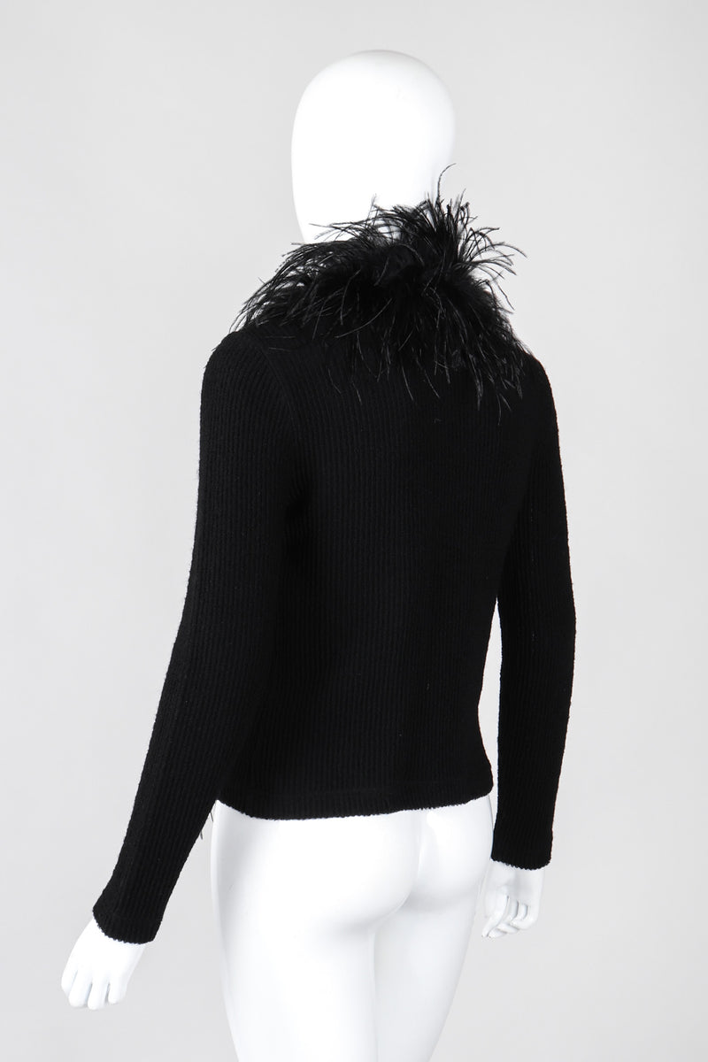 Recess Los Angeles Vintage Emanuel Ungaro Liberté Ribbed Feather Trim Cardigan Sweater