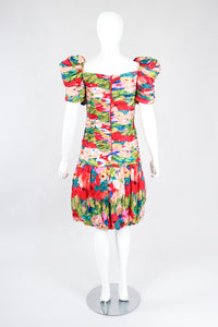 Recess Los Angeles Vintage Evenings by Raul Blanco Evenings Ruched Floral Puff Sleeve Bubble Dress