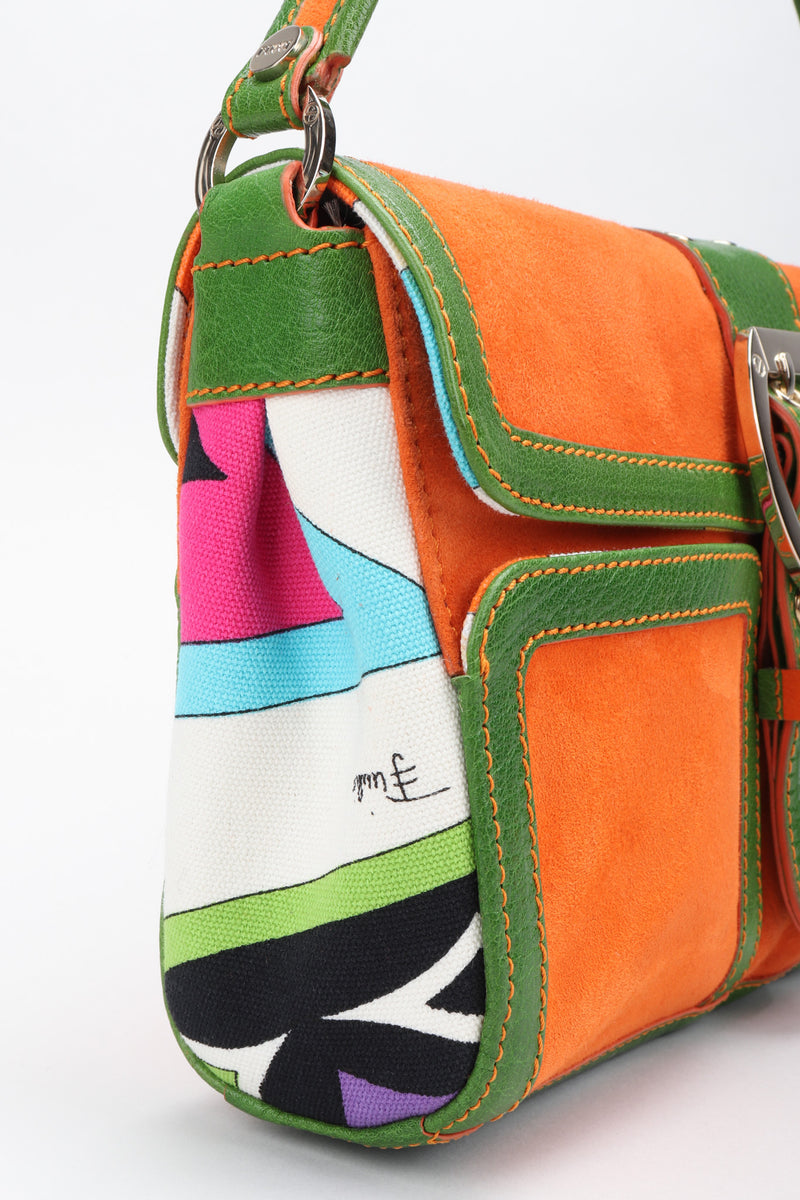 Recess Los Angeles Vintage Pucci Colorblock Print Suede Buckle Bag