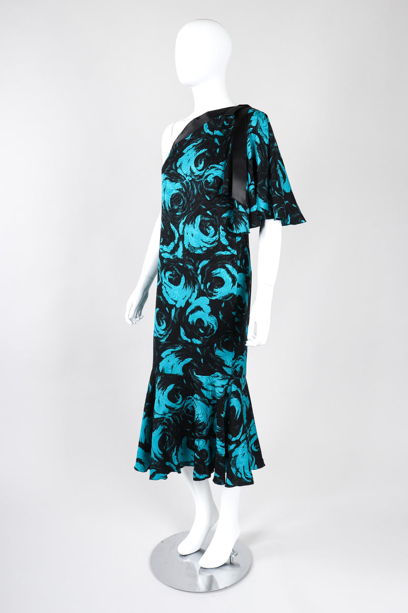 Recess Los Angeles Vintage Emilio One-Shoulder Floral Flounce Dress
