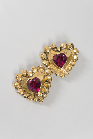 Emanuel Ungaro EU Vintage Crystal Heart Button Clip Earrings