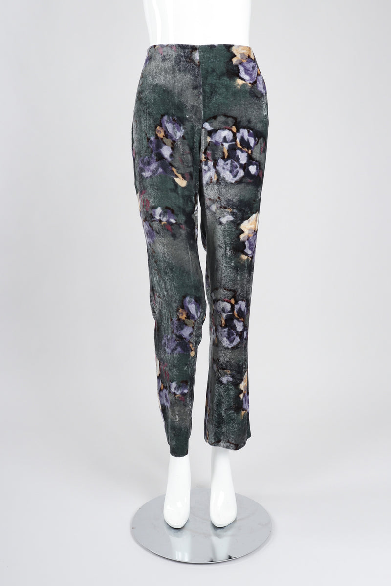 Recess Los Angeles Vintage Emporio Armani Floral Velvet Tuxedo Jacket and Pant Suit Set