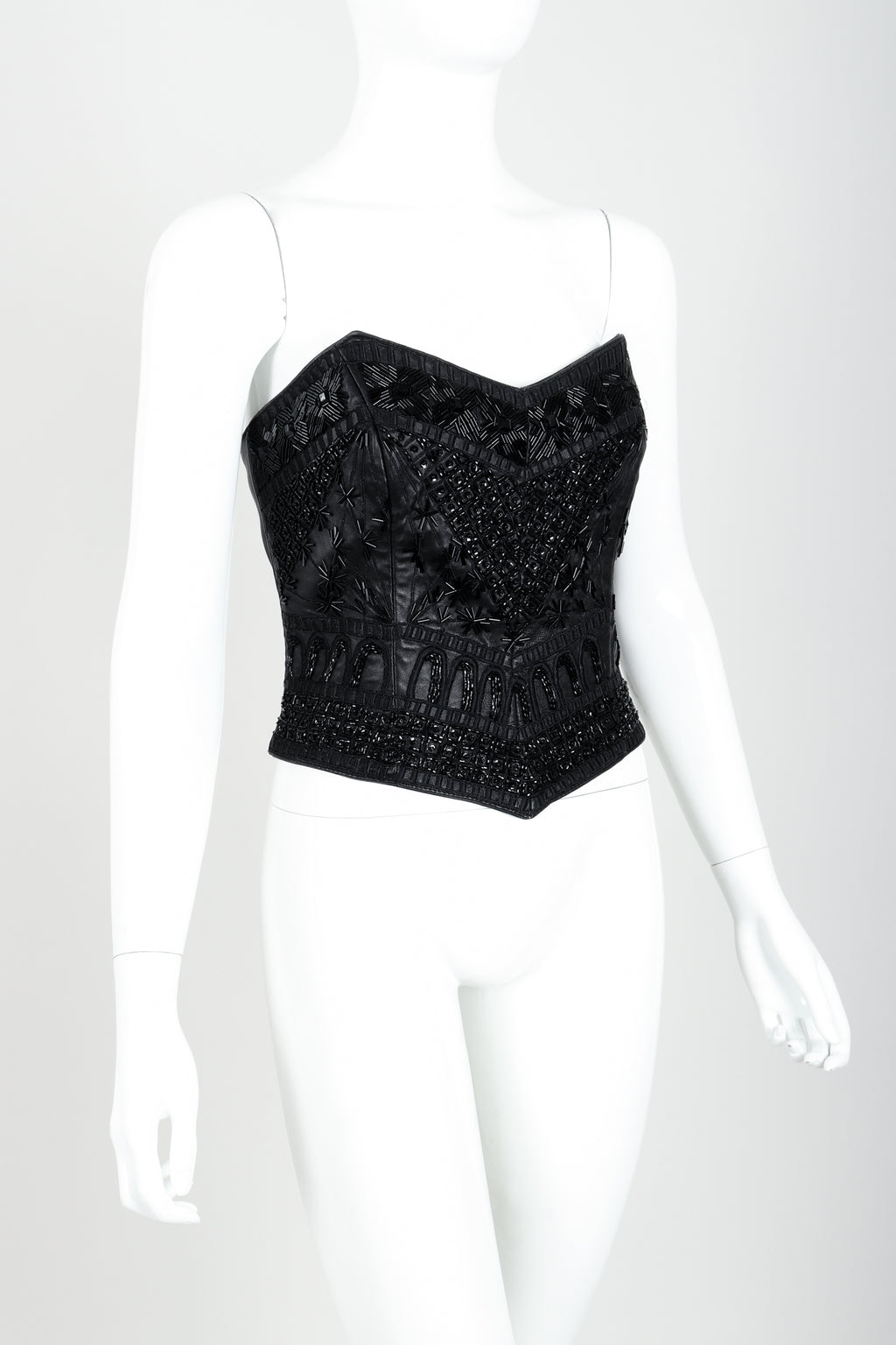 Vintage Erez Strapless Beaded Bustier Angle at Recess LA