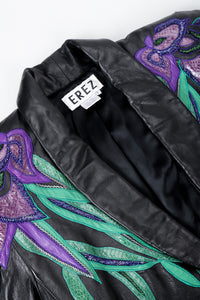 Vintage Erez Flaming Iris Leather Jacket lapel