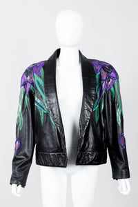 Vintage Erez Flaming Iris Leather Jacket on Mannequin front open at Recess