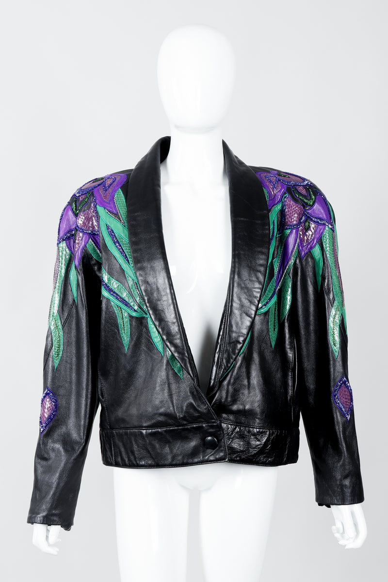 Vintage Erez Flaming Iris Leather Jacket on Mannequin front at Recess