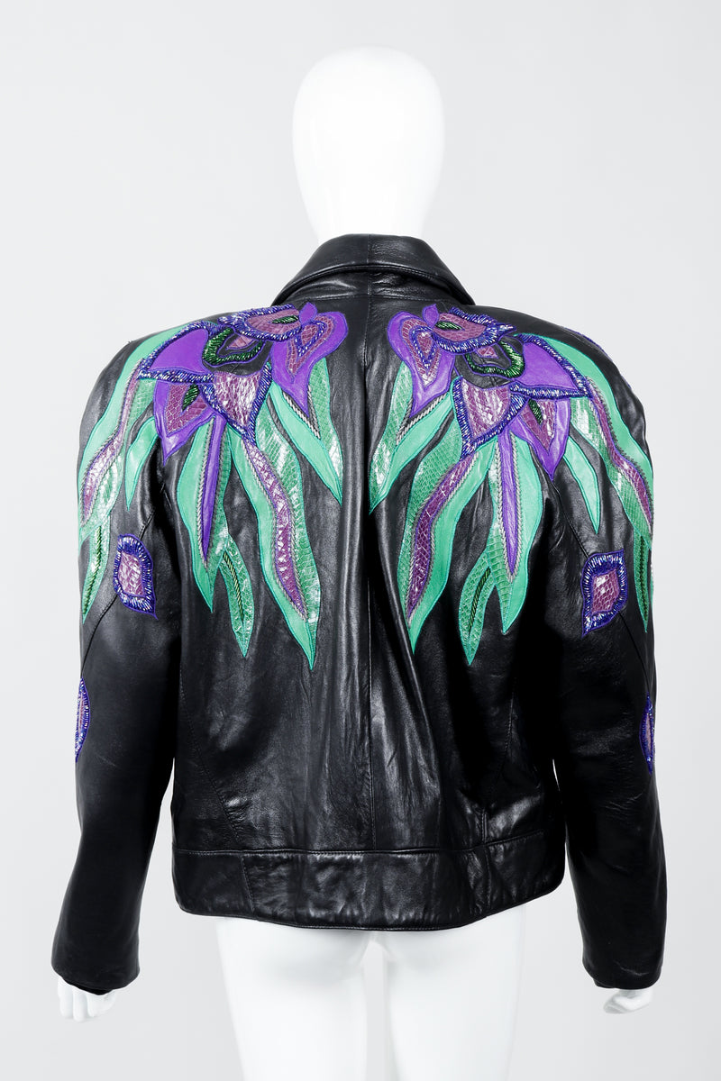Vintage Erez Flaming Iris Leather Jacket on Mannequin back at Recess