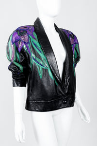 Vintage Erez Flaming Iris Leather Jacket styled angled on Mannequin at Recess