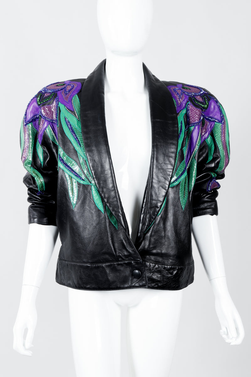 Vintage Erez Flaming Iris Leather Jacket styled on Mannequin at Recess