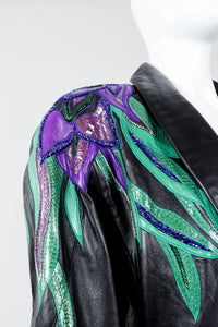 Vintage Erez Flaming Iris Leather Jacket on Mannequin shoulder detail at Recess