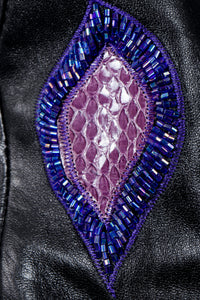 Vintage Erez Flaming Iris Leather Jacket beaded snake applique